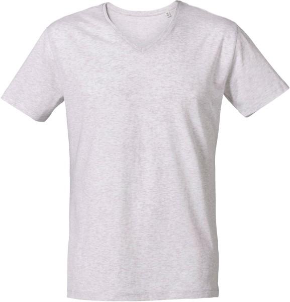 T-Shirt mit V-Ausschnitt aus Bio-Baumwolle - heather ash