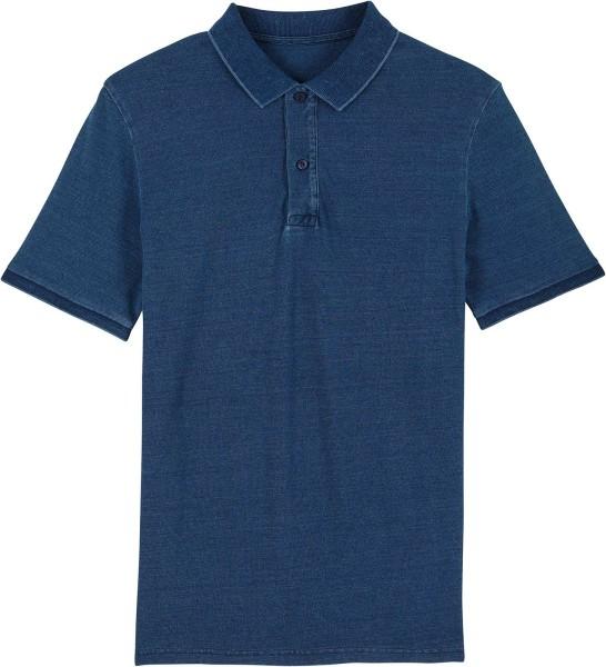Piqué-Poloshirt aus Bio-Baumwolle - mid washed indigo