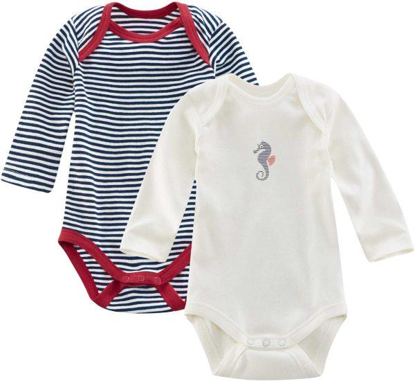 Baby Langarm-Body Bio-Baumwolle - navy/white