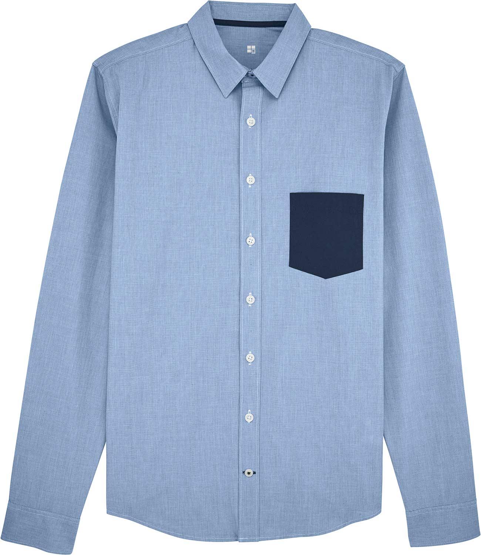 hemd mit brusttasche in kontrastfarbe aus 100 biobaumwolle. Black Bedroom Furniture Sets. Home Design Ideas