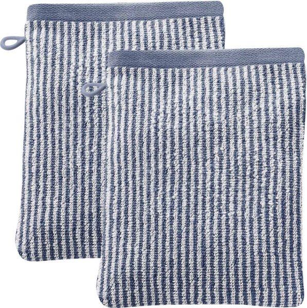 Doppelpack Waschhandschuhe 22x16 cm infinity blue/natural - Bild 1