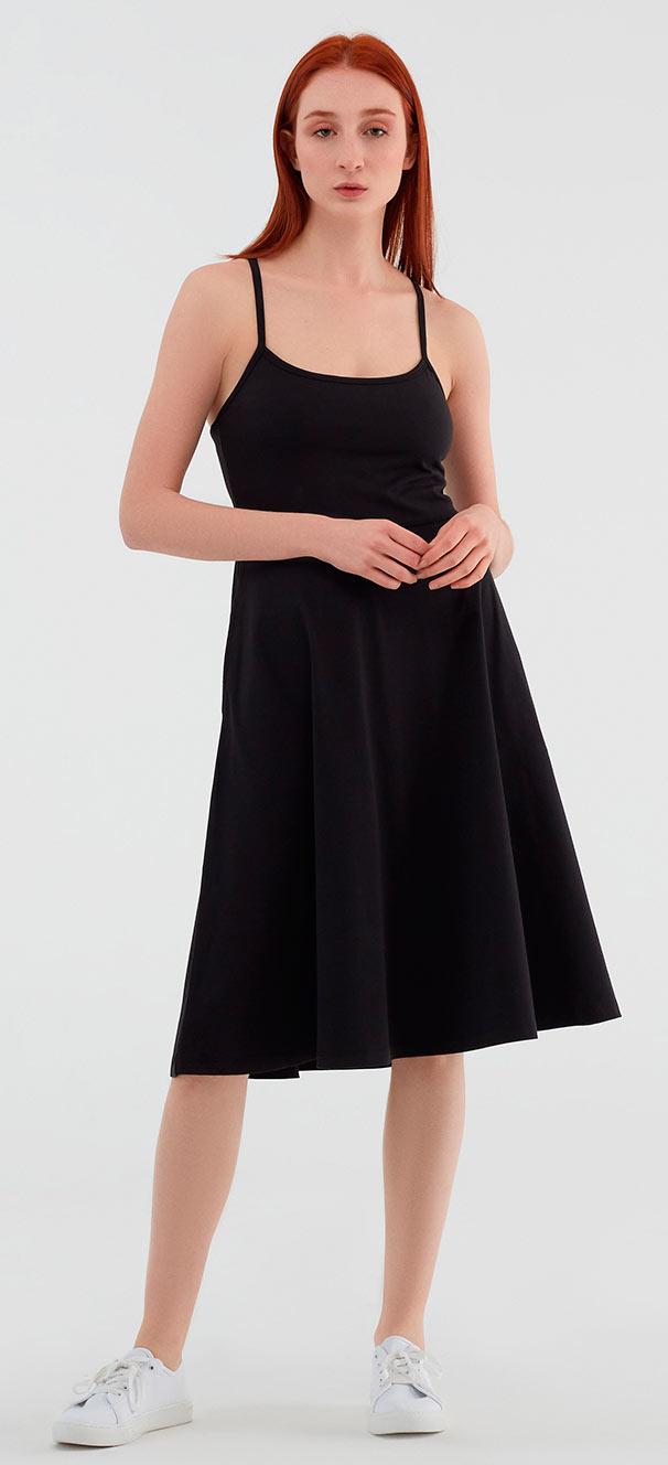 Spaghettiträger-Kleid aus Bio-Baumwolle - schwarz