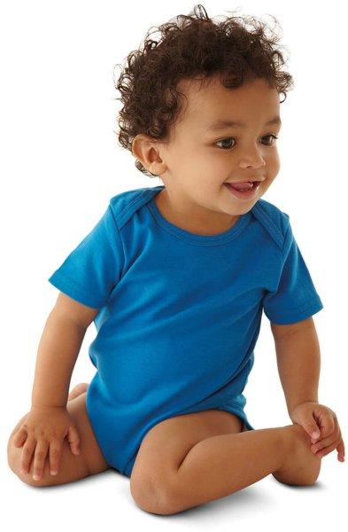 Baby kurzarm Body aus Bio-Baumwolle - bright blue - Bild 1