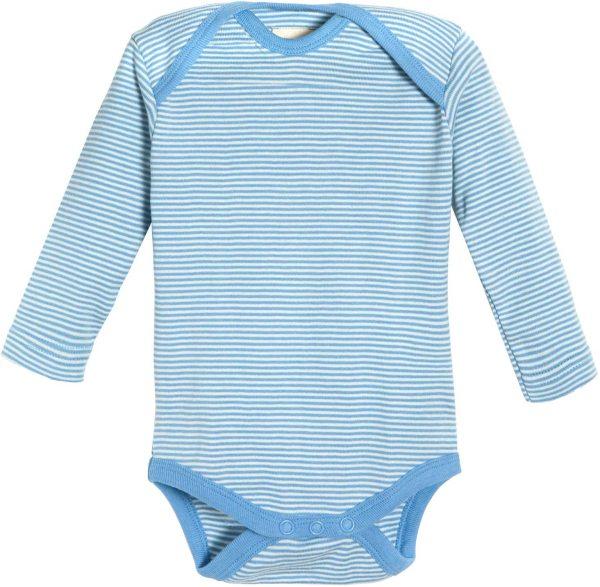 Baby Langarm-Body aus Bio-Baumwolle - blau-gestreift - Bild 1