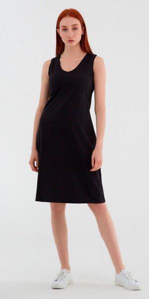 Ärmelloses Kleid aus Bio-Baumwolle - schwarz