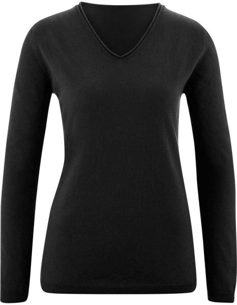 Strickpullover mit V-Ausschnitt aus Bio-Baumwolle - black