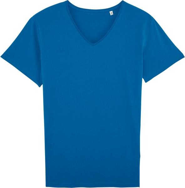 T-Shirt mit V-Ausschnitt aus Bio-Baumwolle - blau