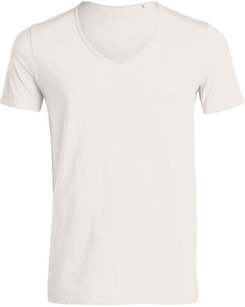 Deep V-Neck T-Shirt aus Bio-Baumwolle - vintage white