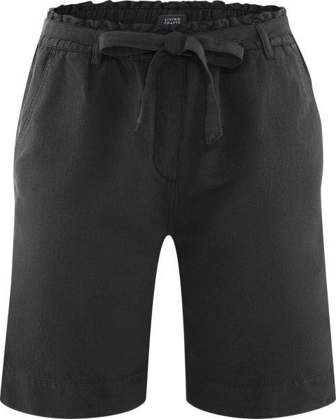 Bermuda-Shorts aus Bio-Leinen und Bio-Baumwolle - black