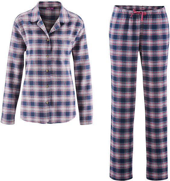 flanell schlafanzug winter damen pyjama aus biobaumwolle. Black Bedroom Furniture Sets. Home Design Ideas