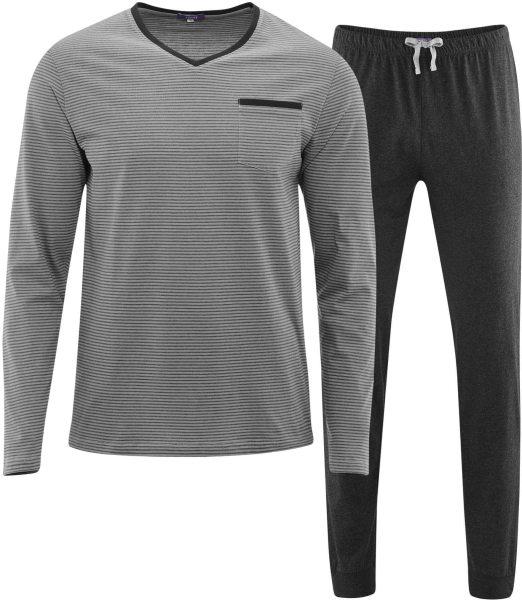 Schlafanzug Bio-Baumwolle – stone grey/anthra