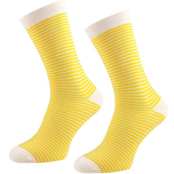 Socken aus Bio-Baumwolle geringelt - 2er Pack - gelb-natur