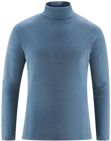 Rollkragen-Langarmshirt aus Bio-Baumwolle - indigo melange