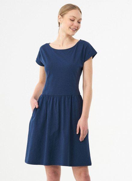 Kurzarm-Kleid aus Bio-Baumwolle - navy