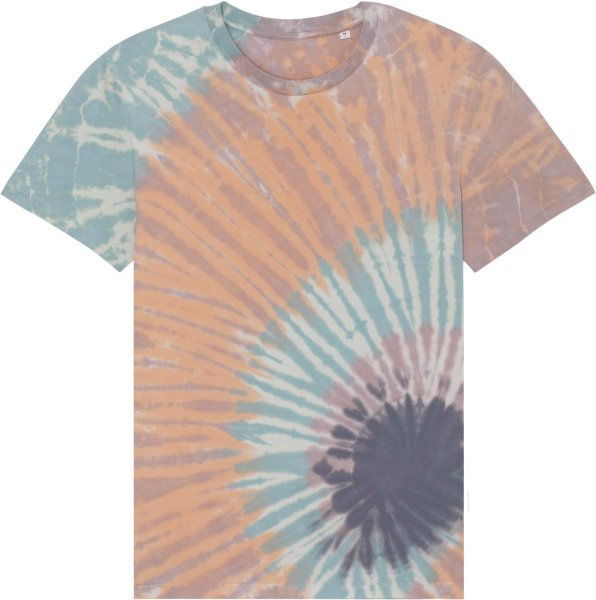 Unisex Batik T-Shirt aus Bio-Baumwolle - tie&dye teal monstera/lilac