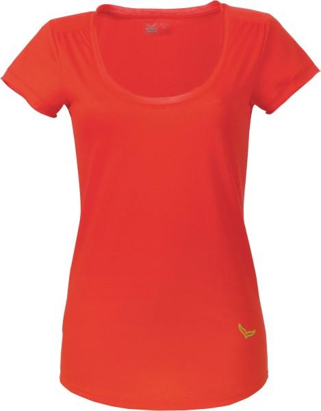T-Shirt mit tiefem Ausschnitt aus Baumwolle - rot