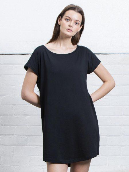 Organic Loose Fit T-Shirt Dress - black