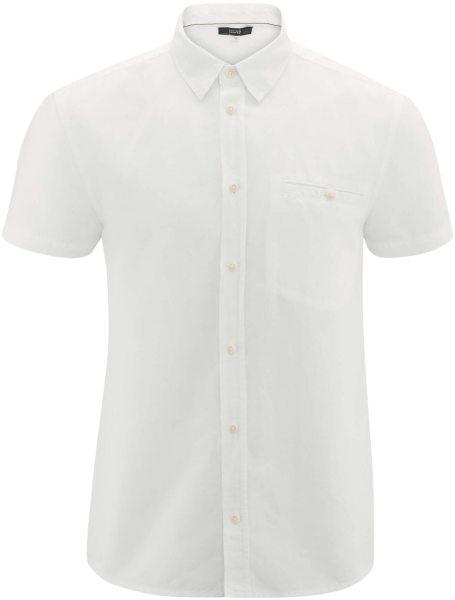 Kurzarm-Hemd aus Bio-Leinen und Bio-Baumwolle - white