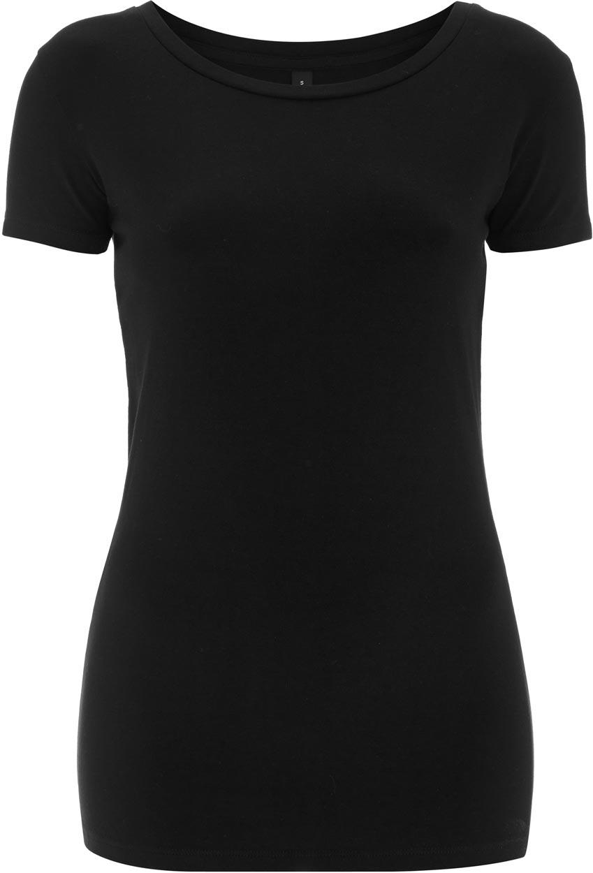 c0c20d504a2f14 Schwarzes Stretch Damen T-Shirt aus Baumwolle   4% Elastan ...