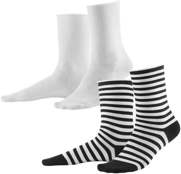 Damen-Strümpfe aus Biobaumwolle 2er-Pack - dark navy/white - Bild 1