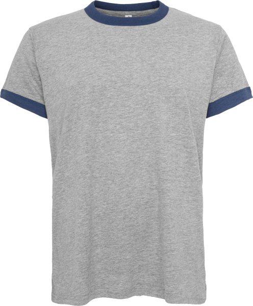 Organic Retro Ringer T-Shirt - heather grey/navy