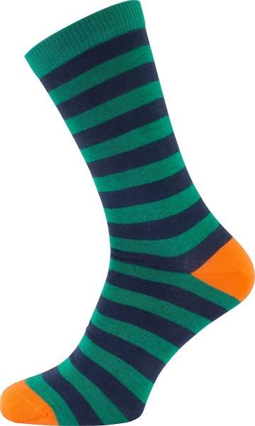 Socken aus Bio-Baumwolle - grün-dunkelblau-orange gestreift