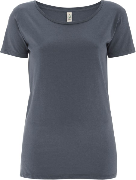 Open Neck T-Shirt aus Biobaumwolle - light charcoal