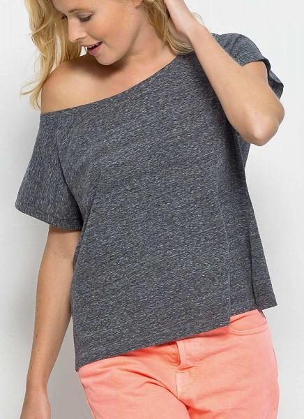 Flies - T-Shirt mit U-Ausschnitt - slub heather steel grey