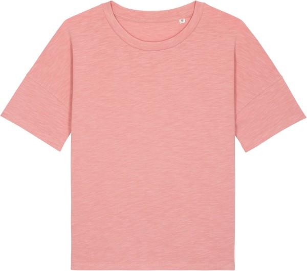 Weites Slub T-Shirt aus schwerem Stoff aus Bio-Baumwolle - canyon pink