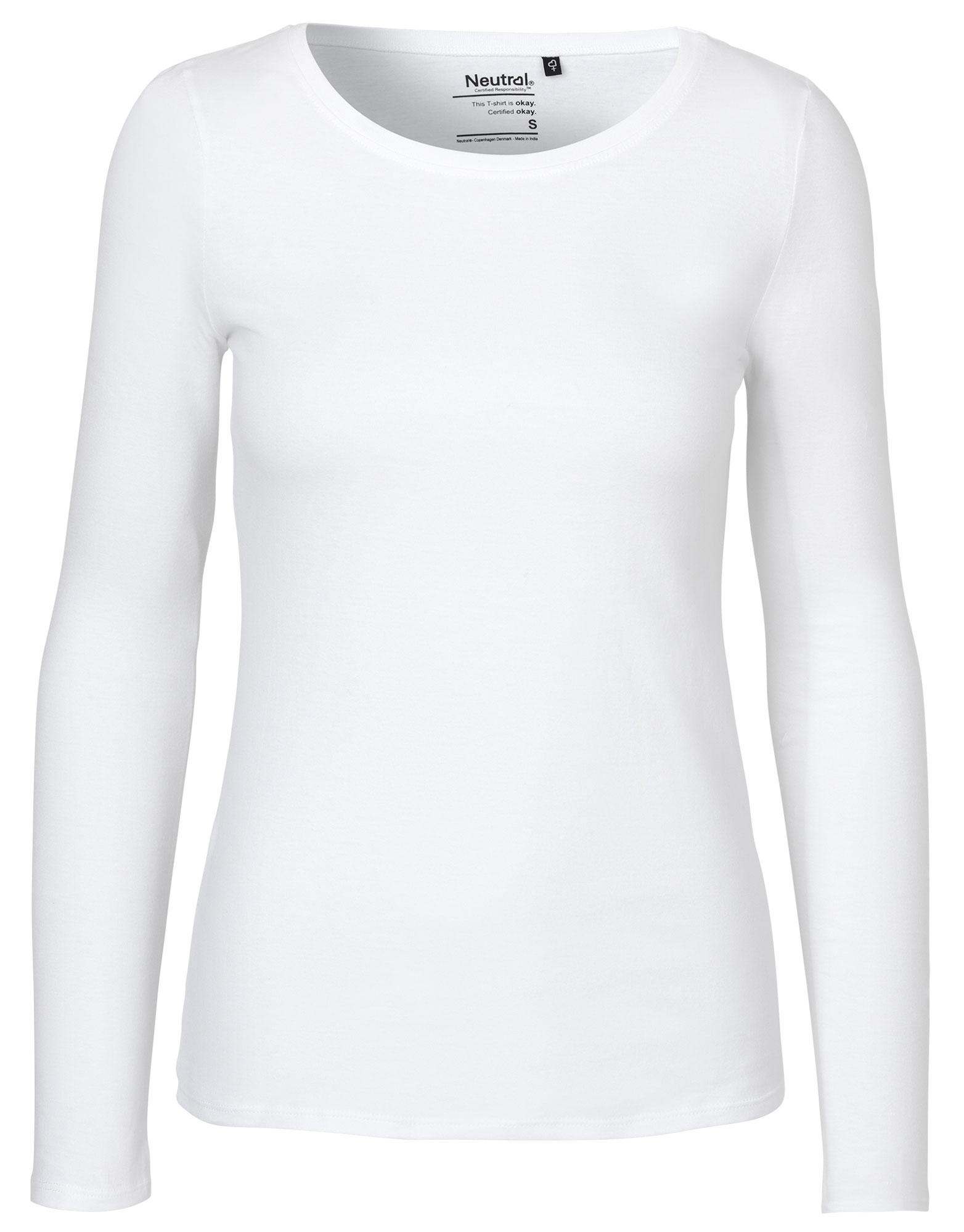 60e76a7e62a6fb Damen Longsleeve aus Bio-Baumwolle in weiß