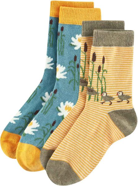 Kinder Socken aus Bio-Baumwolle - 2er-Pack - yellow/petrol