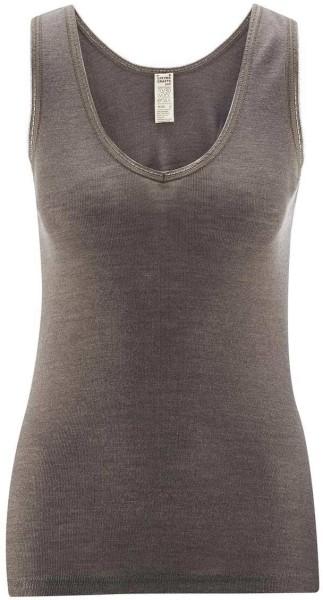 Hemd ohne Arm - V-Ausschnitt/Spitze - Wolle/Seide charcoal