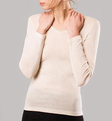 Langarm-Shirt V-Ausschnitt/Spitze - Wolle/Seide natur - Bild 1