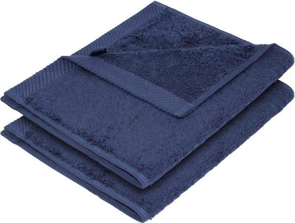 Flauschiges Handtuch aus Bio-Baumwolle 2er-Pack 30x50 dunkelblau - Bild 1