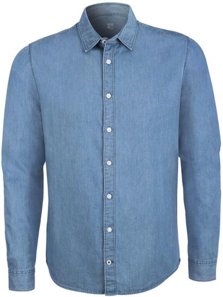 Herren Jeans-Hemd Bio-Baumwolle light indigo denim