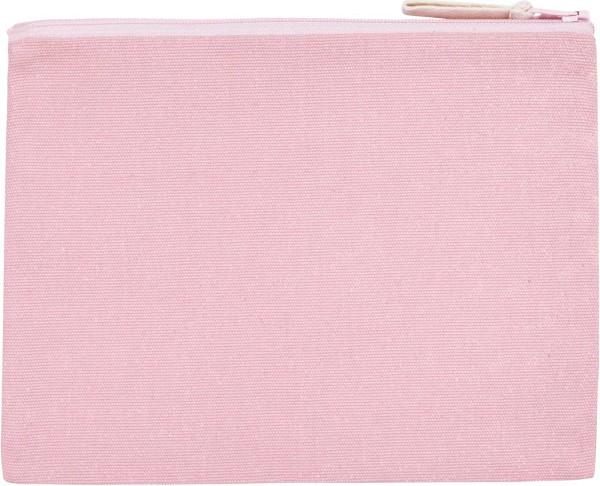 Schminktasche rosa aus Canvasstoff (80% recycelte Biobaumwolle und 20% Polyester)