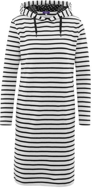 Kapuzenkleid aus Bio-Baumwolle - offwhite/stripes