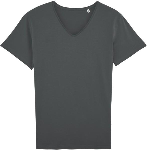T-Shirt mit V-Ausschnitt aus Bio-Baumwolle - anthrazit