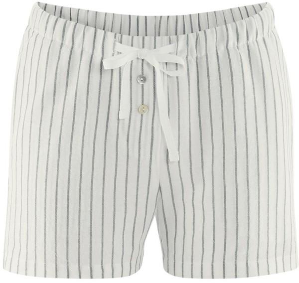 Schlaf-Shorts Bio-Baumwolle und Leinen - reed/white