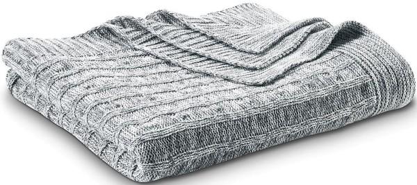 Strick-Decke aus 100% Biobaumwolle -  graphite/natural - Bild 1