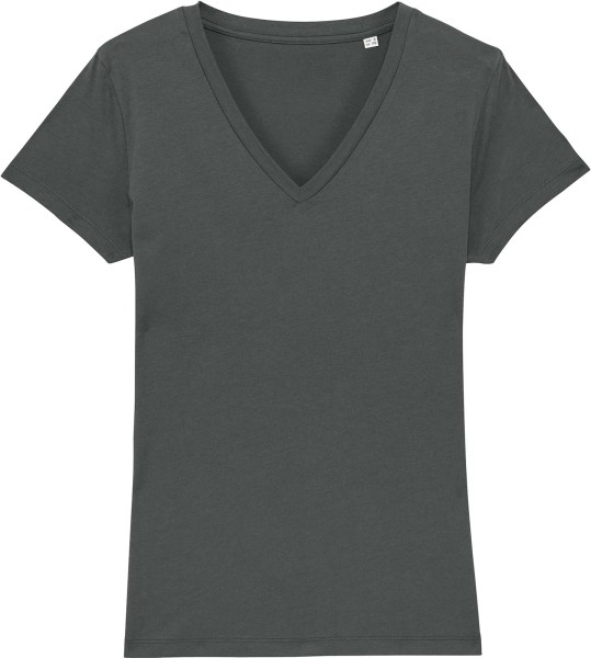 T-Shirt mit V-Ausschnitt aus Bio-Baumwolle - anthracite