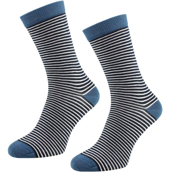 Socken aus Bio-Baumwolle geringelt - 2er Pack - dunkelblau-natur-denimblau