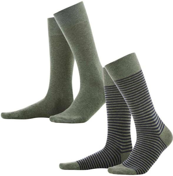 Herren-Strümpfe aus Biobaumwolle 2er-Pack - olive/indigo - Bild 1