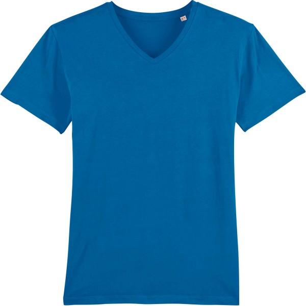 T-Shirt mit V-Ausschnitt aus Bio-Baumwolle - royal blue
