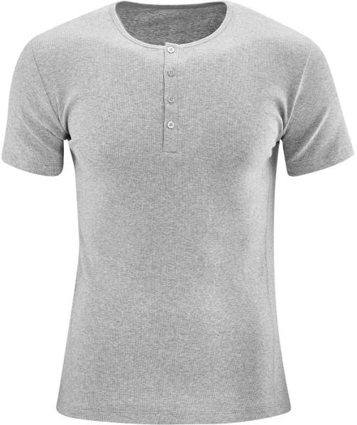 Henley T-Shirt 1/4 Arm mit Knopfleiste - grau-meliert - Bild 1