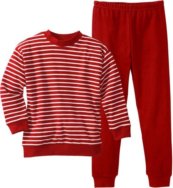Kinder Gestreifter Schlafanzug aus Bio-Baumwolle - weiss-rot