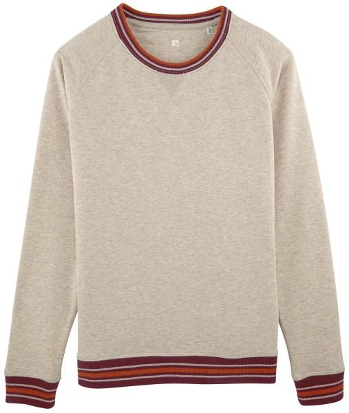 Sweatshirt mit Kontrastbündchen Bio-Baumwolle - mid heather beige