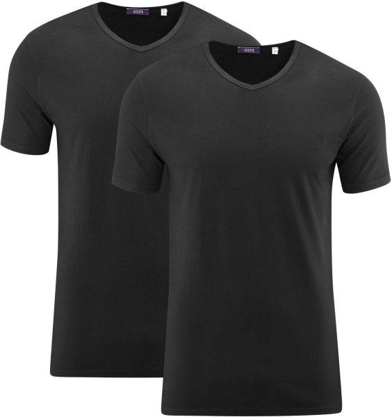 V-Neck T-Shirts aus Biobaumwolle - Doppelpack - schwarz
