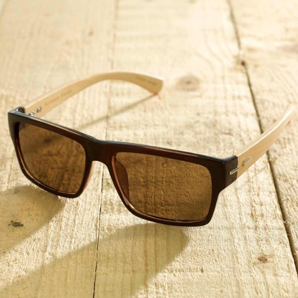 Roma - Sonnenbrille aus recyl. Kunststoff & Bambus - brown