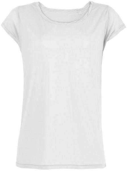 T-Shirt mit U-Boot Ausschnitt Tencel - weiss